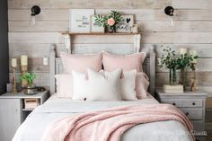 Mid-Winter Bedroom Facelift - Simple Cozy Charm - *All Things Home Decor* - mid-winter bedroom refresh – new sconces from Poly & Bark - Winter Bedroom, Cozy Bedroom, Dream Bedroom, Home Decor Bedroom, Bedroom Ideas, Shabby Bedroom, Pretty Bedroom, Shabby Cottage, Shabby Chic