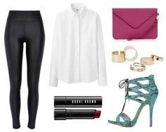 Leather leggings white shirt turquoise heels