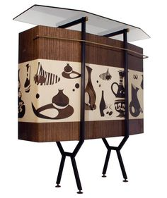 Free-standing home dry bar designed by Italian architect and designer Osvaldo Borsani, 1952 Retro Furniture, Furniture Styles, Home Decor Furniture, Cool Furniture, Furniture Design, Mid Century Modern Design, Mid Century Modern Furniture, Vintage Bar, Bars For Home