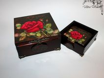 Exklusive Teebox , Wooden tea box mit Tassenunters