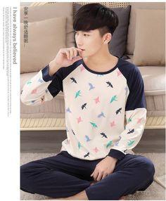 Local Deer Pijama Masculino Long Sleeve Sleepwear Cotton Men Pyjamas O-Neck Casual Men Pajama Set Plus Size