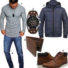 Herren-Outfit mit Büffelleder-Geldbeutel und Timberland Boots (m0680)