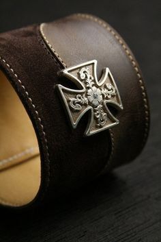 """Leather Cuff, Suede Cuff:  brown leather and suede cuff with a maltese cross medallion """"Valor Cuff"""", $65.0"""