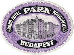 Antigua etiqueta para equipaje del Golden Park Hotel en Budapestopen
