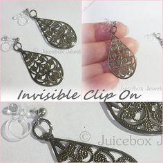 Invisible Illusion Clip On 1-1/2 inch Teardrop Gunmetal Gray