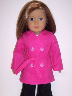 """American Girl/18"""" Doll-Trench Coat in Hot Pink"""