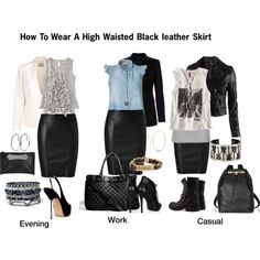 High Waist Leather Skirt by stylejournals on Polyvore featuring H&M, CREAM, Closed, Paul Smith, Burberry, Jitrois, Alexander McQueen, Fiorentini + Baker, Zara and The Row