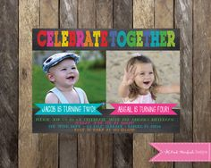 Chalkboard Birthday Invitation Sibling by PinkStarfishDesigns