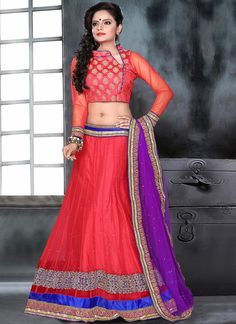 Gorgeous Red #Net #Lehenga #Choli