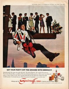 "1966 SMIRNOFF VODKA vintage magazine advertisement ""Get your party off the ground"" ~ Get your party off the ground with Smirnoff - SID CAESAR, STAR OF THE PARAMOUNT PICTURE ""THE SPIRIT IS WILLING"" - Smirnoff makes the drinks that make the party. The ..."