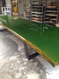 5 meter long oak tabletop moulded with green corn colour coating Designed and produced by ccoating