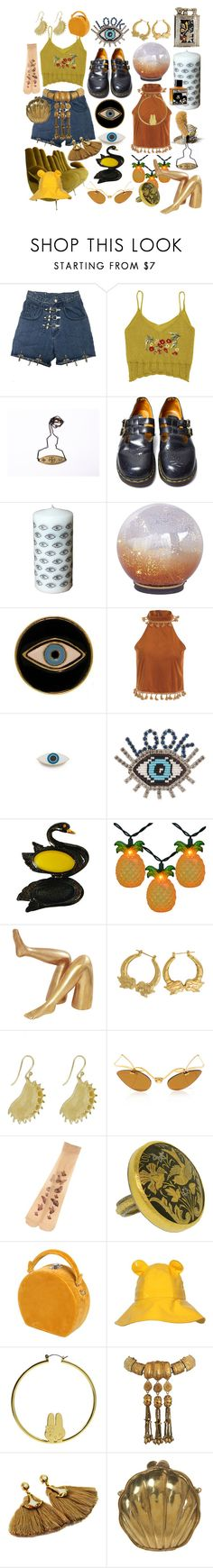 """""""golden eye"""" by aintnodisco ❤ liked on Polyvore featuring Dr. Martens, Pier 1 Imports, E.vil, Georgia Perry, Shourouk, Kelly Wearstler, Annette Ferdinandsen, Bertoni, Christian Lacroix and ara"""