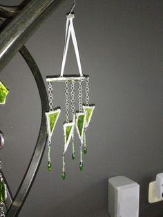 Windchime van groen glas