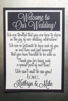 Welcome Message For Wedding Gift List : Wedding Welcome Letters on Pinterest Welcome Bags, Wedding Welcome ...