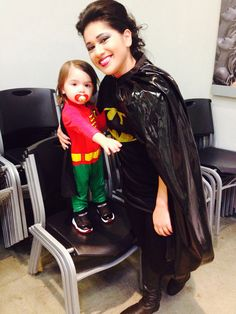 Halloween 2013. Mother and son costume. Batman and robin