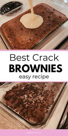 Brownie Mix Desserts, Brownie Bar, Brownie Recipes, No Bake Desserts, Just Desserts, Delicious Desserts, Crack Brownies, Cake Like Brownies, Diy Snacks