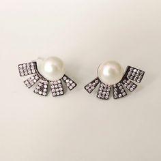 Bridal Earrings, Pearl Earrings, Sparkles, Highlight, Plating, Glamour, Fan, Pearls, Elegant