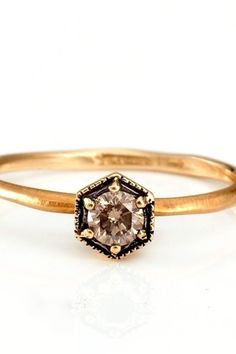 For whoever decides to become my prince  Satomi Kawakita Hexagon Ring with Champagne Diamonds, $430, available at Catbird.