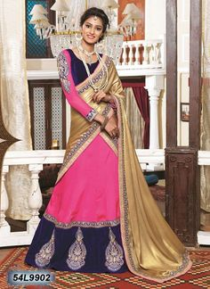 Get yourself look like a Diva in this gracious Pink & Blue Designer Lehenga Choli! Lehenga has been beautifully made with multi cut work embroidery & Jari lace.