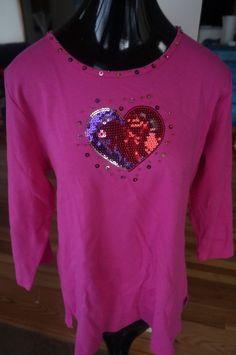 Quacker Factory Rhinestone Heart Long Sleeve Knit Shirt Top Sz L Pink Valentine #QuackerFactory #KnitTop