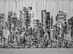 """""""NEW YORK, NEW YORK"""" Contemporary black, white and grey Manhattan skyline painting on chunky canvas #skyscrapers #cityscape #citylife #citypainting #chryslerbuilding http://www.hannahvanbergen.co.uk/cityscapes-2/440799_new-york-new-york.html"""