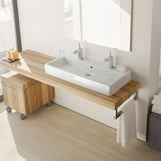 Simple White Trough Sink with Wooden Vanity Cabinet for Minimalist Bathroom