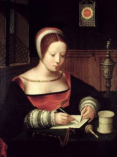 """Mary Magdalene Writing"", 1520s, by the Master of the Female Half-Lengths (also known as the Master of the Vienna Concert; Southern Netherlandish, flourished c. 1500-1530)."