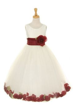 Girls Ivory Dresses with Burgundy Flower Petals and Sash - ABC Fashion