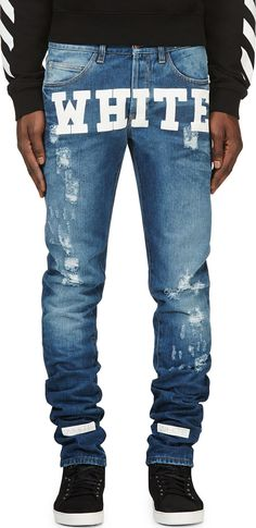 8913eb41b93f  Off-White Blue  amp  White Printed Jeans Off White Clothing