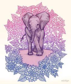 'Cute Baby Elephant in pink, purple & blue' by micklyn