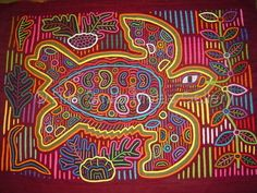 Turtle Molas Fabric Art Works San Blas Islands Mola Panama #112