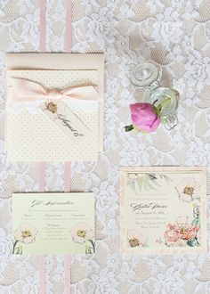 lace + flowers invitation suite by Momental Designs | Cyn Kain
