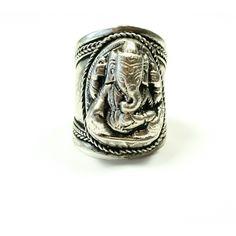 Silver Ganesha Tibetan Ring