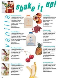 Some delicious shake ideas for mixing with Vanilla Forever Lite