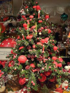 Mushroom tree. A stunning Christmas tree decorated with Fly Agaric mushroom decorations