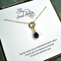 Soul Sister Gift - Amethyst Gemstone Necklace, 14k Gold Filled