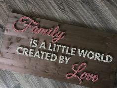 Wanddeko - String Art Wandbild {Family is a little world} - ein Designerstück von WeLoveStringArt bei DaWanda