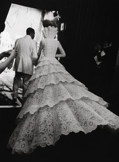 Alexander McQueen and model backstage at Givenchy Haute Couture Fall 1998.