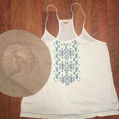 White Boho Top Wear this white boho top on a casual date night, BBQ, or get together! Really cute blue and green design. In great condition. Mossimo Supply Co. Tops