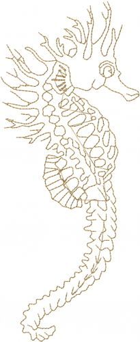 Animals(ATG Freedesigns) Embroidery Design: Seahorse Outline from Anns Club  annthegran.com
