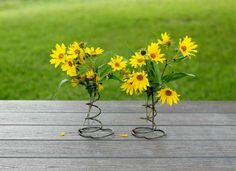 DIY flower display made from old bed springs