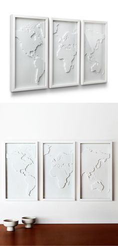 With the map in a different color though. Display your love for travel and culture with this three-panel relief-molded world map. Done in a classic white, it will be a wonderful focal point for your living room or bedroom. My New Room, My Room, Wall Decor, Room Decor, Home Design, Design Art, Sweet Home, New Homes, Crafty