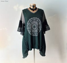 Dark Green Sweater Upcycled Clothing by BrokenGhostClothing