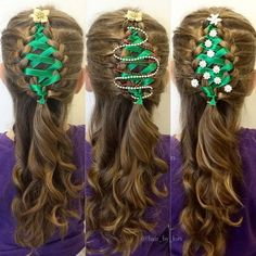 Ribbon Braided Christmas Tree Hairstyle