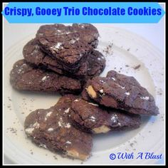 With A Blast-: Crispy, Gooey Trio Chocolate Cookies . 3 x different chocolates + cocoa = 4 x chocolate delight! Gooey Cookies, Chocolate Cookies, Valentines Sweets, Chocolate Delight, Homemade Biscuits, Easy Cookie Recipes, Sandwich Cookies, Biscuit Recipe, Cupcake Cakes