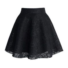 Black Full Lace Skater Skirt ❤ liked on Polyvore featuring skirts, knee length flared skirts, circle skirt, lacy skirt, skater skirt and flared skirts