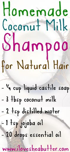 DIY Coconut Milk Shampoo for Hair Growth and Conditioning – beautymunsta – free natural beauty hacks and more! DIY Coconut Milk Shampoo for Hair Growth and Conditioning – beautymunsta – free natural beauty hacks & more! Diy Hair Growth Shampoo, Natural Hair Shampoo, Hair Growth Tips, Natural Oils For Hair, Coconut Oil Hair Treatment, Coconut Oil Hair Growth, Diy Beauty Hacks, Coconut Milk Shampoo, Style