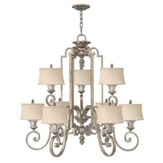 Elstead Kinsley shabby chic styled silver leaf chandelier