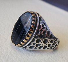 striped natural onyx agate black flat stone by AbuMariamJewels
