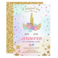 68 best 10th birthday party invitations images on pinterest in 2018 unicorn birthday invitation pink gold magical filmwisefo